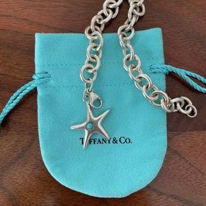 TIFFANY & CO. - Silver/Turquoise Starfish Tag Brac